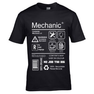 Premium Funny Mechanic Workwear Spoof Package Care Label Info Guide Motif Men's t-shirt top